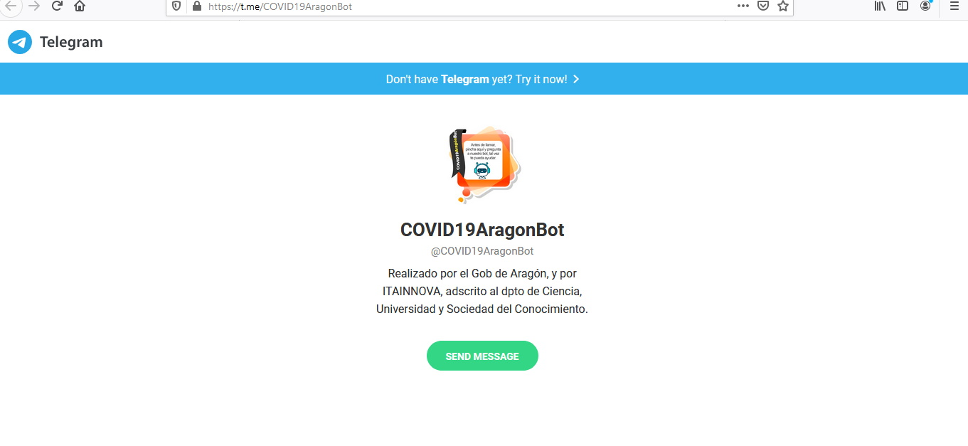 ITAINNOVA aplica inteligencia artificial al asistente virtual COVID19AragonBot, del Gobierno de Aragón, en Telegram