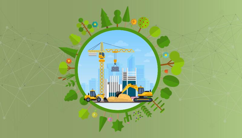 Ilustración que muestra maquinaria de construcción en un entorno sostenible y digital