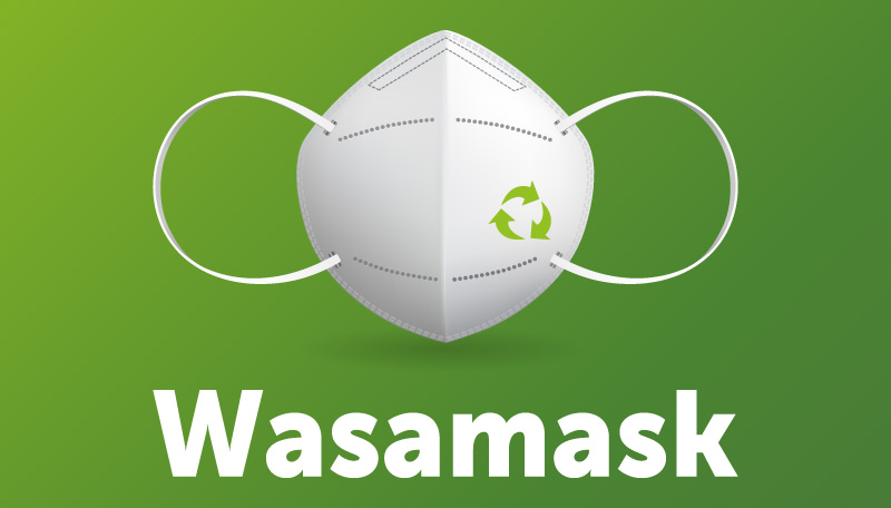 Ilustración de una mascarilla con el logo de Msamask
