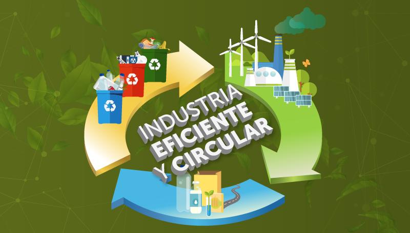 Composición gráfica que representa una industria eficiente y circular