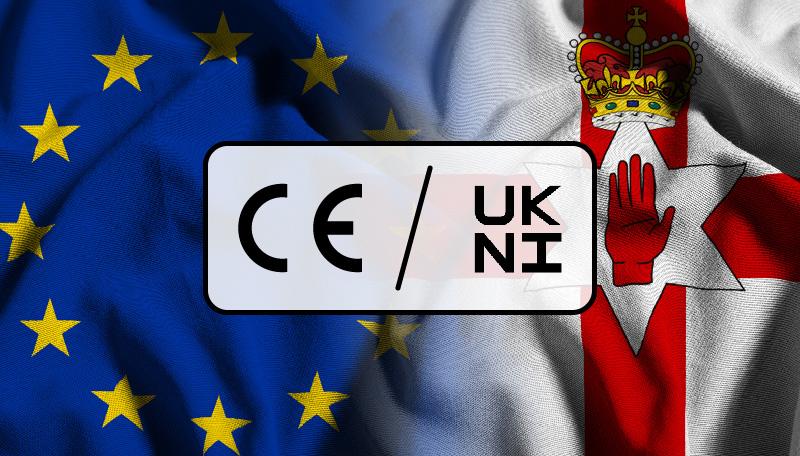 Composición que fusiona las banderas de la Unión Europea e Irlanda del Norte con los logos del Marcado CE y el Marcado UKNI