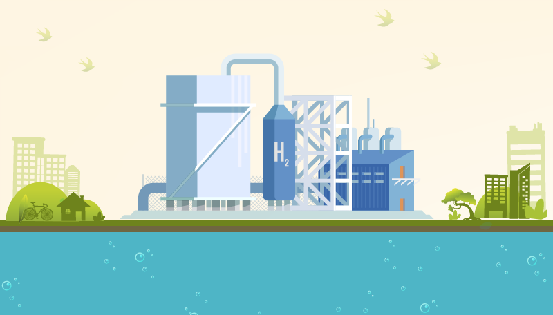 Ilustración que muestra una planta de generación de hidrógeno en un entorno medioambiental limpio