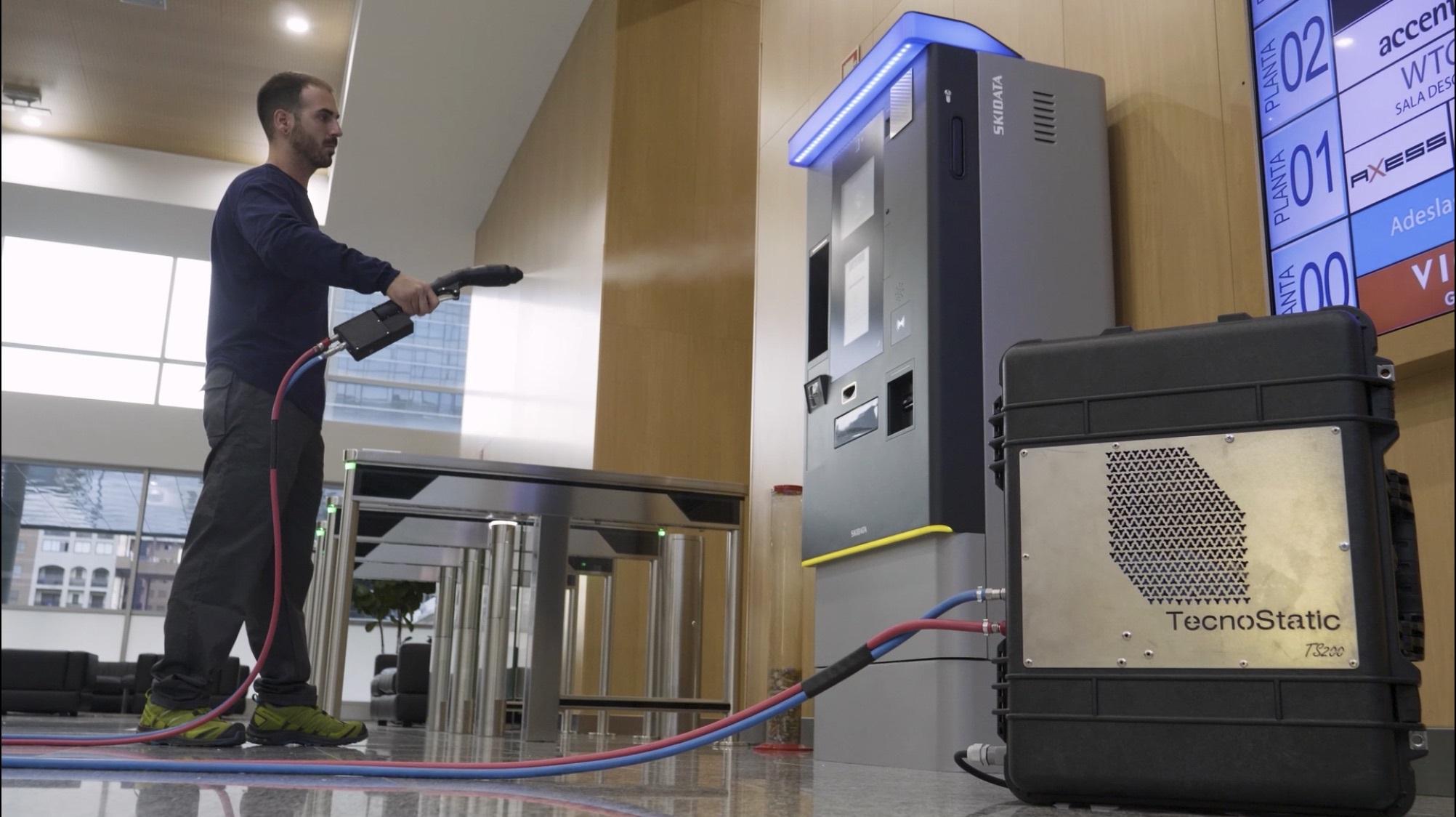 TecnoStatic ha desarrollado, junto a ITAINNOVA, innovadores equipos de pulverización electrostática para la desinfección de superficies