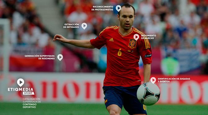 Imagen de uno de los productos de la empresa ETIQMEDIA, spin-off caso de éxito de ITAINNOVA, en la que sale el jugador de la Selección Española de Fútbol, Andrés Iniesta