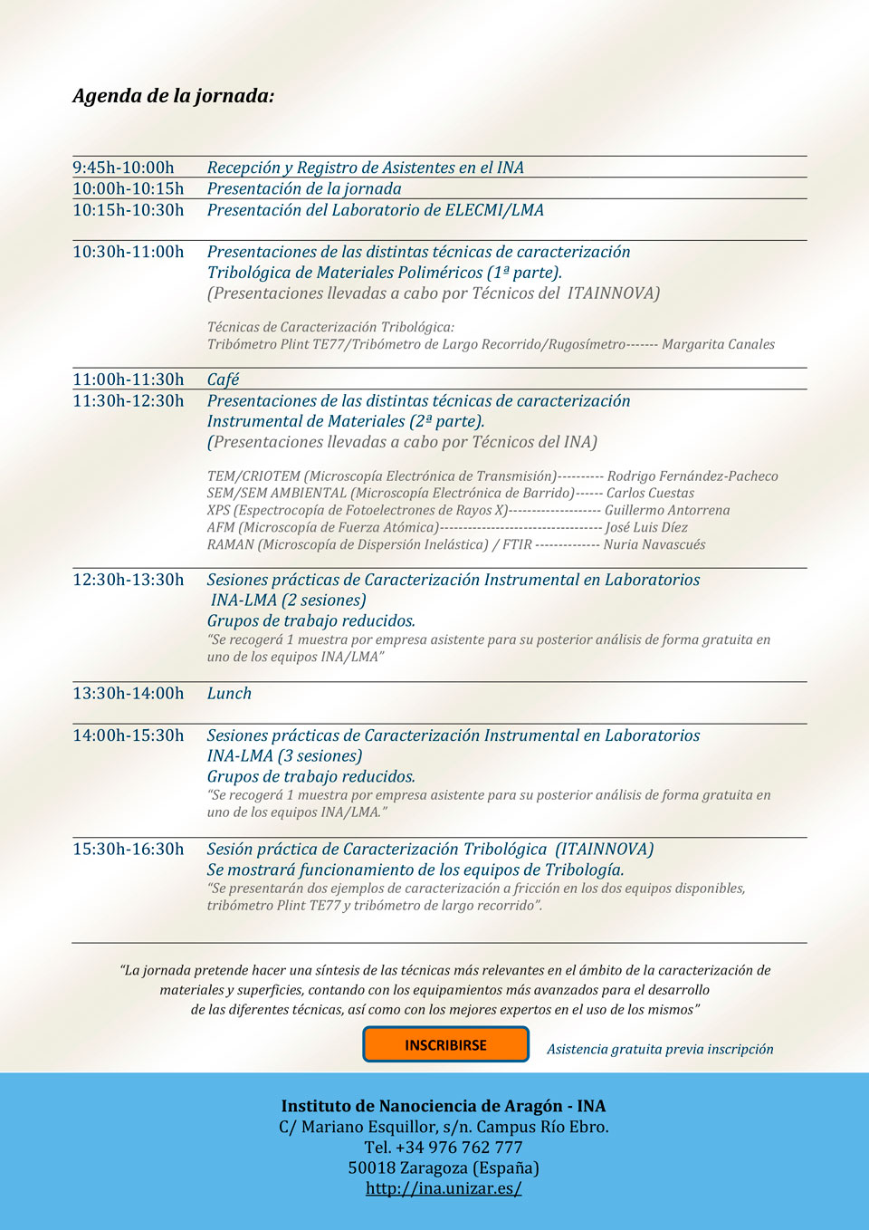 Agenda de la Jornada de Materiales y Superficies del INA